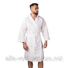 Вафельний халат Luxyart Кімоно розмір (54-56) XL 100% бавовна білий (LS-0411)