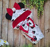 Конверт-одеяло на выписку с ушками, конверт на выписку Минни Маус