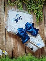 """Конверт на выписку """"Корона"""", хлопок 75*75 см, конверт-одеяло на выписку для мальчика"""