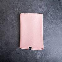 Женский однотонный зимний бафф нежно-розовый (цвет пудра)