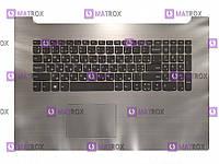 Оригинальная клавиатура для ноутбука Lenovo IdeaPad 320-17 series, ua, gray, серебристая передняя панель