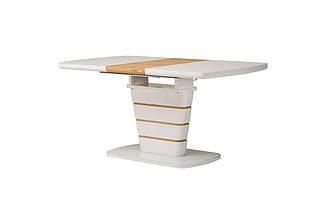 Стол ТМ-59-1 белый + шпон (дуб натуральный) 120/160 см Vetro Mebel (бесплатная доставка)