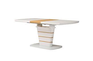 Стол ТМ-59 белый + шпон (дуб натуральный) 140/180 см Vetro Mebel (бесплатная доставка)