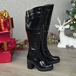 Женские зимние ботфорты на устойчивом каблуке, из натуральной лаковой кожи. 36 размер