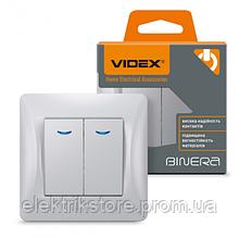 VIDEX BINERA Вимикач 2кл з підсвічуванням срібний шовк (VF-BNSW2L-SS) (20/120)