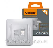 VIDEX BINERA Розетка CAT6 одинарна комп'ютерна срібний шовк (VF-BNSK1PC6-SS) (20/120)