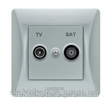 VIDEX BINERA Розетка TV+SAT кінцева срібний шовк (VF-BNSK2TVSATE-SS) (20/120)