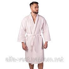Вафельний халат Luxyart Кімоно розмір (54-56) XL 100% бавовна пудровий (LS-0418)