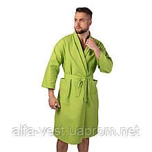 Вафельний халат Luxyart Кімоно розмір (54-56) XL 100% бавовна оливковий (LS-0419)