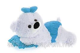 Аліна плюшевий ведмедик малятко 45 см білий з блакитним