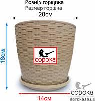 Горшок с подставкой Алеана Ротанг 20*18см какао 4,1л (Вазон Ротанг 20х18), фото 2