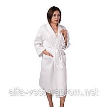 Вафельний халат Luxyart Кімоно розмір (54-56) XL 100% бавовна білий (LS-0412)