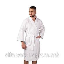 Вафельний халат Luxyart Кімоно розмір (50-52) L 100% бавовна білий (LS-0401)
