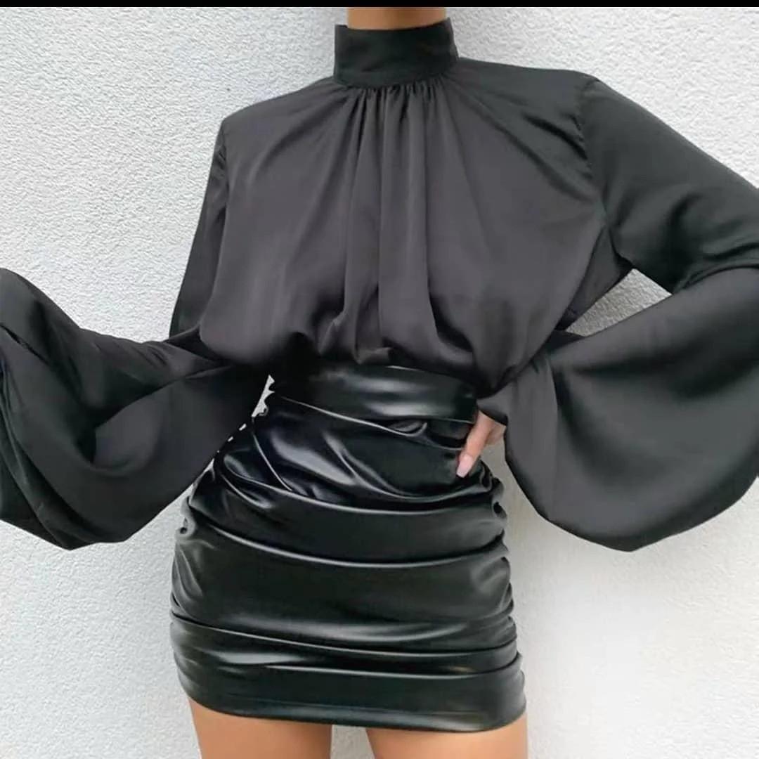 Элегантная женская блуза под горло с длинным широким рукавом на резинке