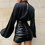 Элегантная женская блуза под горло с длинным широким рукавом на резинке, фото 2