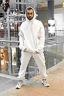 Зимний спортивный костюм оверсайз на флисе, мужской стильный, молодежный теплый костюм, белый