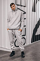 Зимний спортивный костюм оверсайз на флисе, мужской стильный, молодежный теплый костюм, серый