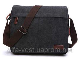 Сумка почтальонка текстильна Vintage 20088 Чорна