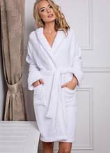 Махровий халат Luxyart, 100% бавовна, 400-420 гр/м2, білий, розмір S (E-2598)
