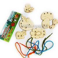 Шнуровка для самых маленьких, деревянная игрушка.