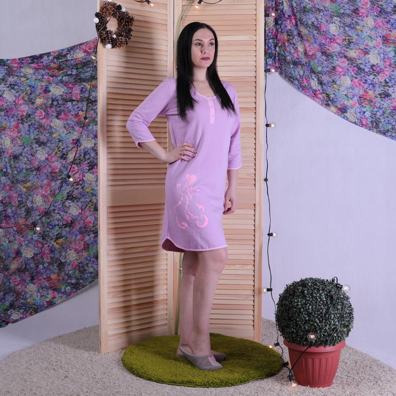 """ТЕПЛАЯ женская ночная рубашка """"Кошка"""" р.44 -56."""