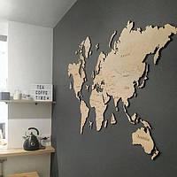 Деревянная карта мира на стену из дерева - Однослойная/Настенная/Декоративная - Светлый Дуб