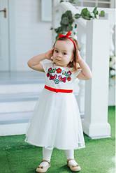 Вишите плаття для дівчинки Пташечка, 100% бавовна, р 80,86,92,98 біле