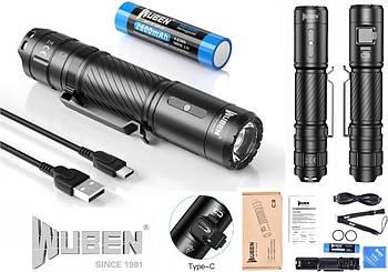 Светодиодный яркий фонарь Wuben C3 (1200LM, USB Type-C, Osram P9 LED, IP68, Аккумулятор 186500*2600mAh)