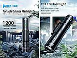 Светодиодный яркий фонарь Wuben C3 (1200LM, USB Type-C, Osram P9 LED, IP68, Аккумулятор 186500*2600mAh), фото 4