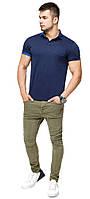 Брендовая футболка поло мужская цвет темно-синий-голубой модель 6073
