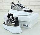 Женские кроссовки Versace Chain White Black Grey, фото 3