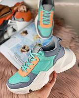 Женские кроссовки грубые зеленые