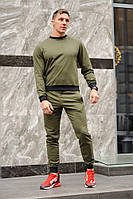 Оливковый (хаки) мужской спортивный костюм - свитшоты и штаны (весна-осень)