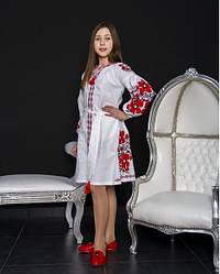 Вишите плаття для дівчинки Квіти Праги, домотканное бавовняне полотно, р 134,140,146,152 біла з черв
