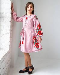 Вишите плаття для дівчинки Квіти Праги, домотканное бавовняне полотно, р 134,140,152 рожева