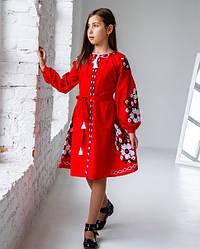 Вишите плаття для дівчинки Квіти Праги, домотканное бавовняне полотно, р 134,140,146 червона