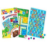 Настольные магнитные игры «Лудо» и «Змеи и лесницы», деревянная игрушка.