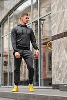 Темно-серый мужской спортивный костюм весна-осень