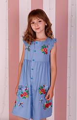 Вишите плаття для дівчинки Мамине сонечко, джинс, р 98,104,110,116,122,128,134 св джинс