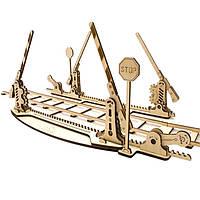 Механическая 3D-модель «Ж/д переезд с рельсами», 200 дет., деревянная игрушка.