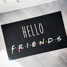 Коврик придверный на резиновой основе черный с принтом Hello friends