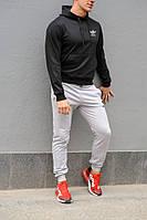 Мужской спортивный костюм Adidas (Адидас), черная худи и серые штаны весна-осень (реплика)