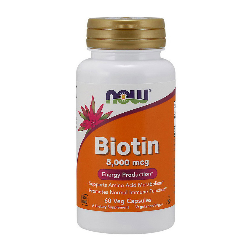 Биотин (витамин H или B7) Now Foods Biotin 5,000 mcg (60 veg caps)