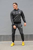 Темно-серый мужской спортивный костюм Adidas (Адидас), весна-осень (реплика)