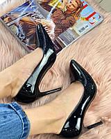 Туфли лодочки черные блестки