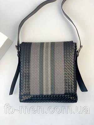 Повседневная сумка кожаная плетеная Боттага Венета |Мессенджер черный вместительный Боттега Венета мужской
