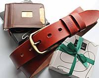 """Кожаный ремень и кошелек в наборе """"Carisma"""" мужской коричневый"""