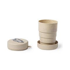 Бамбукова дорожня чашка 220 мл з карабіном, складна (бежевий, Ø 6,8 x 10,3 см)