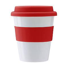 Пластиковий стакан з силіконовою кришкою, 350 мл (червоний, Ø9,4 x 11,2 см)