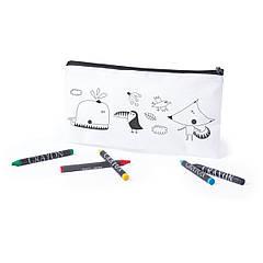 Пенал для розфарбовування з кольоровими олівцями (білий, 22 x 11 см)